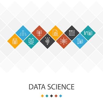 Conceito de infográficos do modelo de iu da moda da ciência de dados. aprendizado de máquina, big data, banco de dados, ícones de classificação