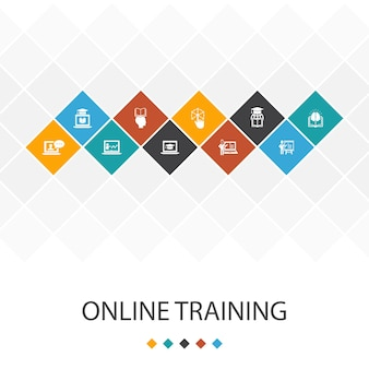 Conceito de infográficos do modelo de iu da moda de treinamento online. ensino à distância, processo de aprendizagem, elearning, ícones de seminário