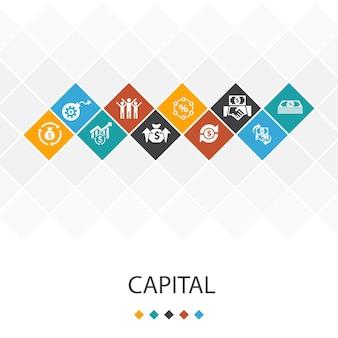 Conceito de infográficos do modelo de iu na moda capital. dividendos, dinheiro, investimento, ícones de sucesso