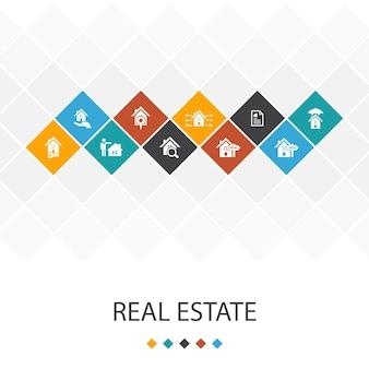 Conceito de infográficos do modelo de iu na moda de imóveis. ícones de propriedade, corretor de imóveis, localização, propriedade para venda