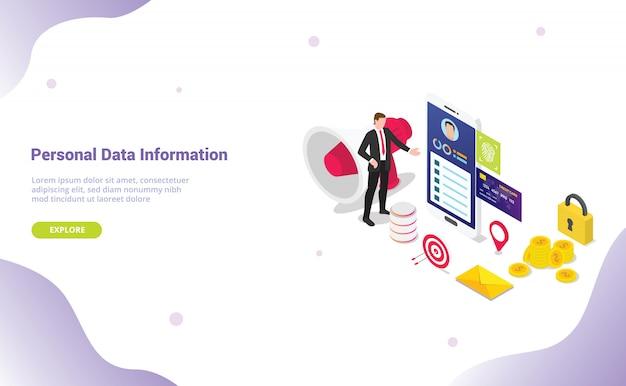 Conceito de informação de dados pessoais com dados de privacidade de segurança com estilo isométrico para o modelo de site