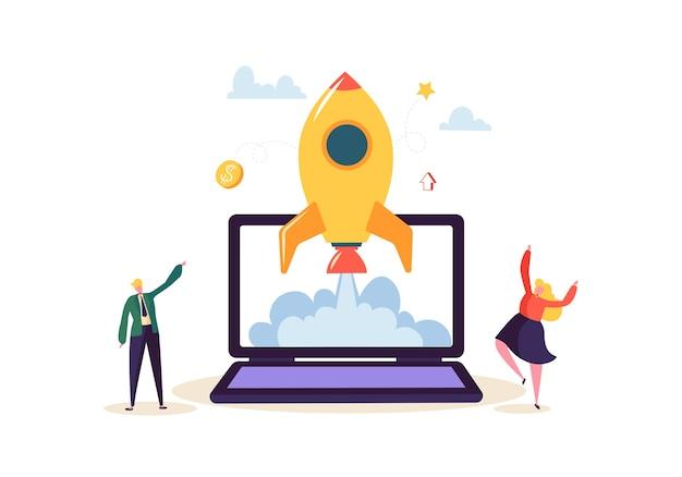 Conceito de inicialização com personagens felizes de salto. plano de negócios pessoas lançando foguete. novo projeto iniciado com sucesso.