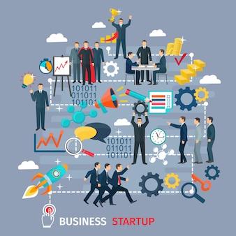Conceito de inicialização de negócios com símbolos de alvo e sucesso em fundo cinza