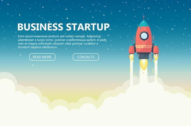 Conceito de inicialização de negócios. lance um foguete vermelho para o espaço. desenvolvimento de negócios