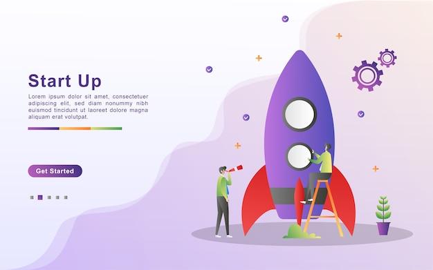 Conceito de inicialização. processo de start-up, ideia por meio de planejamento e estratégia, gerenciamento de tempo.