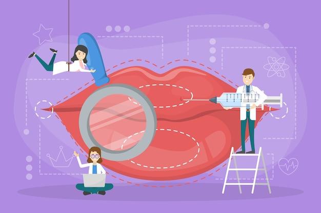 Conceito de injeção labial. médico faz aumento labial