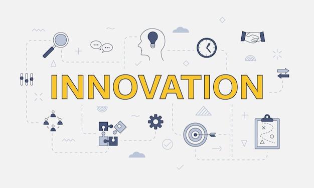 Conceito de inovação com conjunto de ícones com grande palavra ou texto na ilustração vetorial central