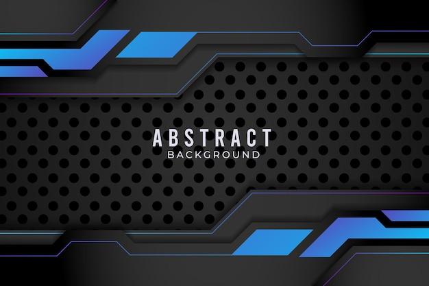 Conceito de inovação de tecnologia de design metálico abstrato azul e preto. vetor premium