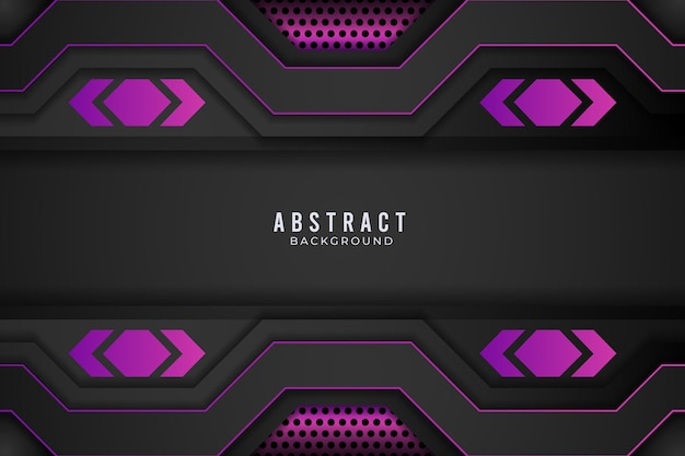 Conceito de inovação de tecnologia de design metálico abstrato roxo e preto. vetor premium