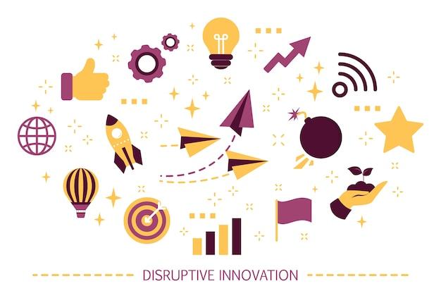 Conceito de inovação disruptiva. ideia criativa e única