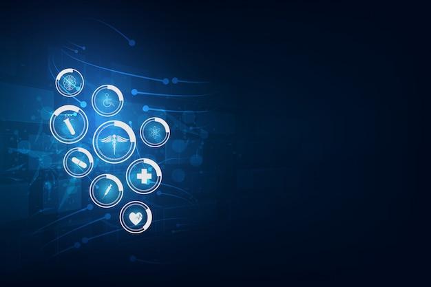 Conceito de inovação médica de padrão de ícone de cuidados de saúde