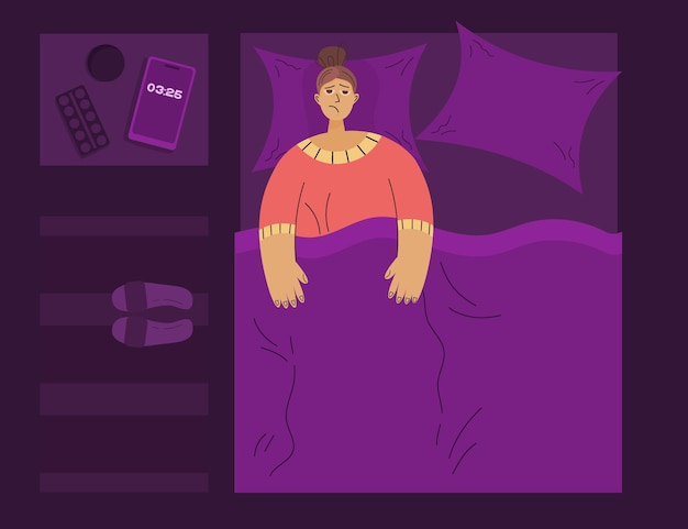 Conceito de insônia à noite, na cama, pessoa cansada não consegue dormir ao lado do telefone comprimidos com água