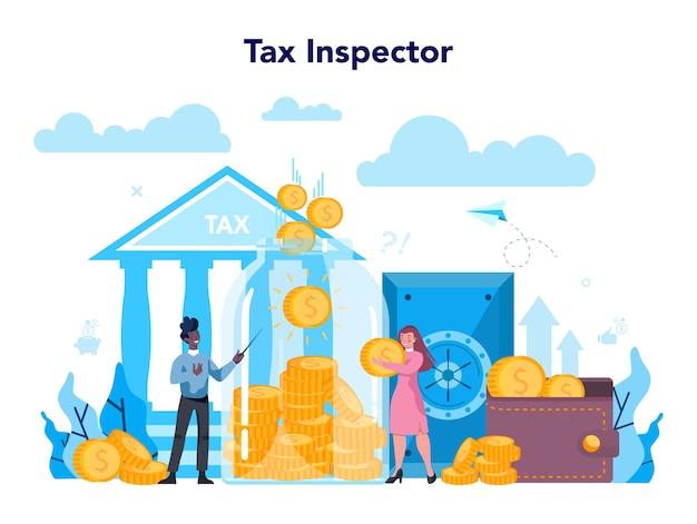 Conceito de inspetor fiscal. ideia de contabilidade e pagamento.
