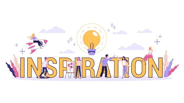 Conceito de inspiração. mente criativa e brainstorm. lâmpada como metáfora da ideia. ícone de linha definido com lâmpada e cérebro. ilustração