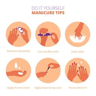 Conceito de instruções de manicure