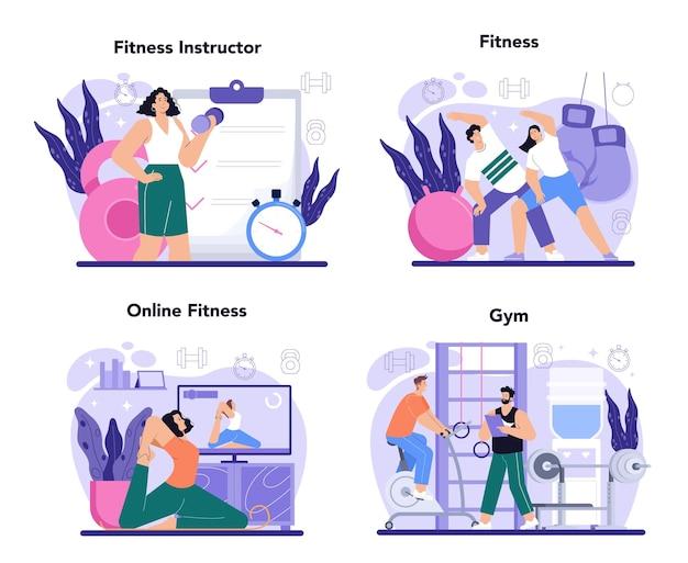 Conceito de instrutor de fitness definir treino na academia com profissional