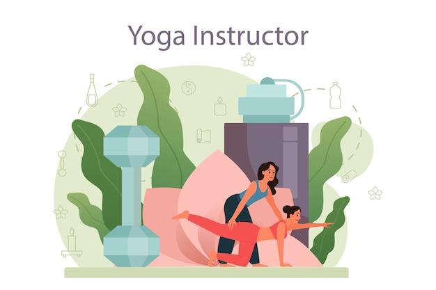 Conceito de instrutor de ioga. asana ou exercícios para homens e mulheres. saúde física e mental. relaxamento corporal e meditação externa. Vetor Premium