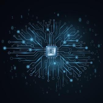 Conceito de inteligência artificial. cérebro tecnológico do ciborgue.
