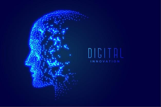 Conceito de inteligência artificial de rosto digital de tecnologia
