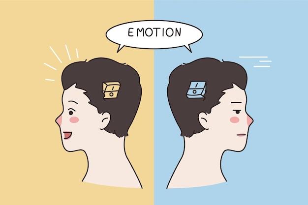Conceito de inteligência e emoções emocional. silhueta de cabeça humana com emoção ligada ou desligada por dentro com várias expressões faciais.