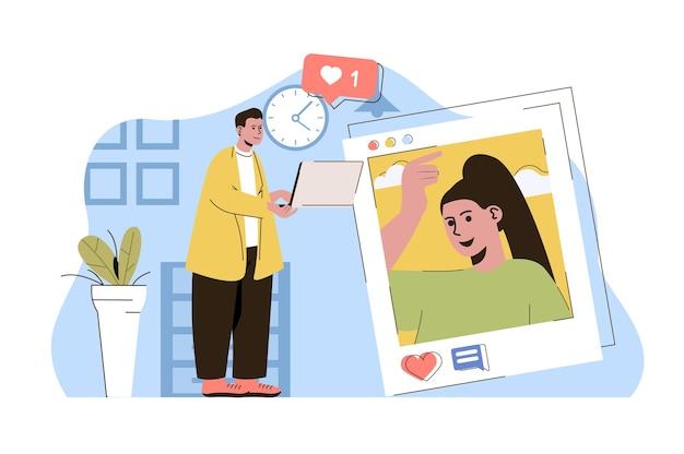 Conceito de interação de rede que o homem gosta de postar com foto de mulher nas redes sociais
