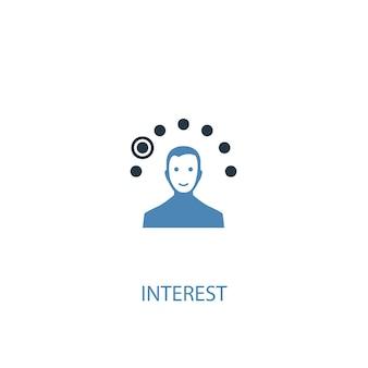 Conceito de interesse 2 ícone colorido. ilustração do elemento azul simples. interesse conceito símbolo design. pode ser usado para ui / ux da web e móvel