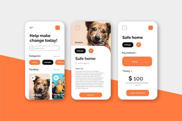 Conceito de interface de aplicativo de caridade