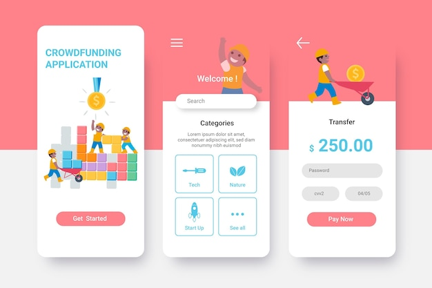 Conceito de interface de aplicativo de crowdfunding