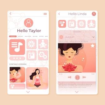 Conceito de interface de aplicativo de meditação