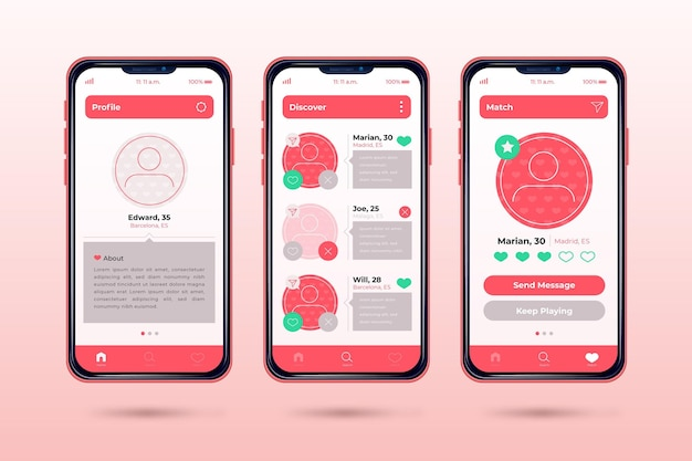 Conceito de interface de aplicativo de namoro
