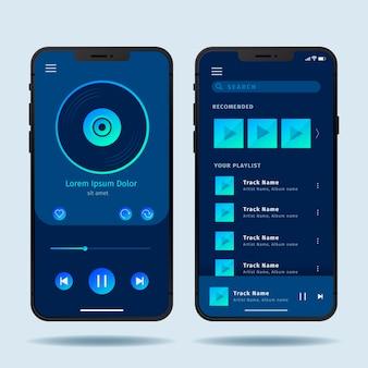 Conceito de interface de aplicativo de player de música