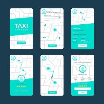 Conceito de interface de aplicativo de táxi