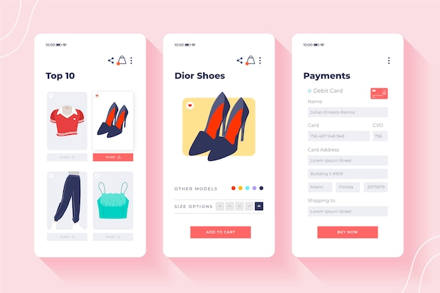 Conceito de interface de compra online