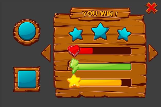 Conceito de interface de madeira de jogo vetorial, você ganha. janela do jogo com botões e ícones.