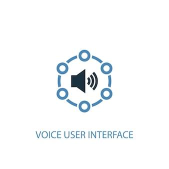 Conceito de interface de usuário de voz 2 ícone colorido. ilustração do elemento azul simples. projeto de símbolo de conceito de interface de usuário de voz. pode ser usado para ui / ux da web e móvel