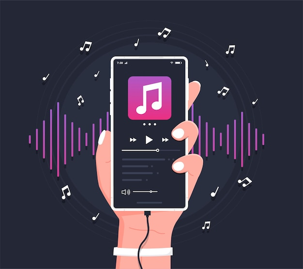 Conceito de interface de usuário do reprodutor de música para smartphone do app media player