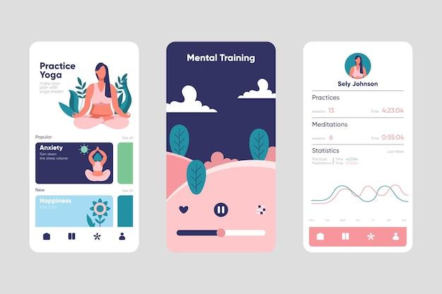 Conceito de interface do aplicativo de meditação