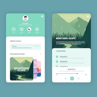 Conceito de interface do aplicativo de meditação Vetor grátis