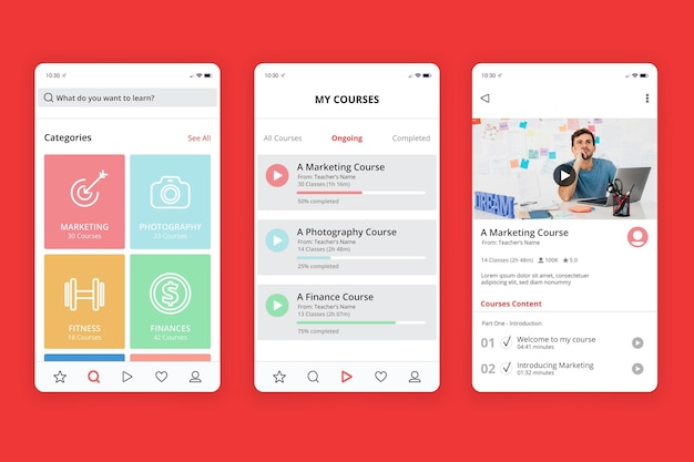 Conceito de interface do aplicativo do curso