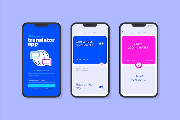 Conceito de interface do aplicativo tradutor