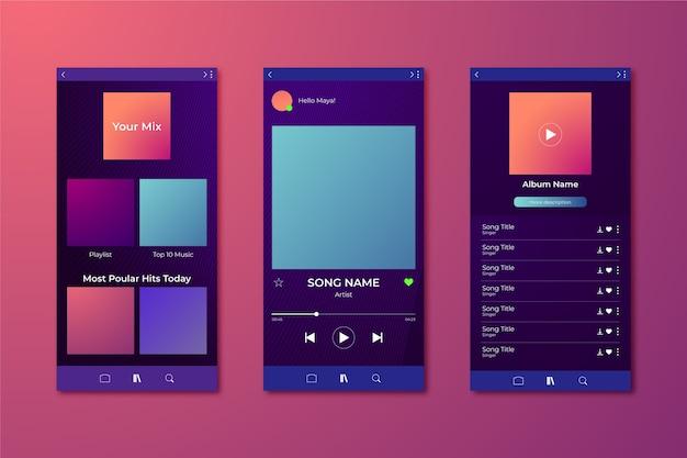 Conceito de interface do modelo de aplicativo de player de música