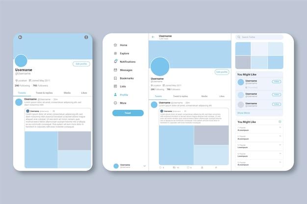 Conceito de interface do twitter Vetor grátis
