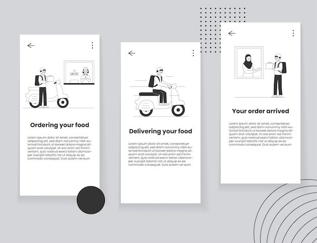 Conceito de interface do usuário do aplicativo móvel de entrega de comida
