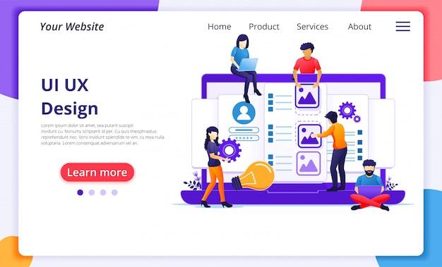 Conceito de interface do usuário ux, pessoas criando um local de conteúdo e texto do aplicativo. modelo de página de destino do site