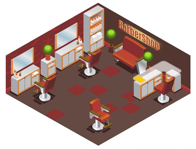 Conceito de interior de barbearia isométrica com mesas, cadeiras, sofás, plantas, espelhos, toalhas e acessórios profissionais isolados