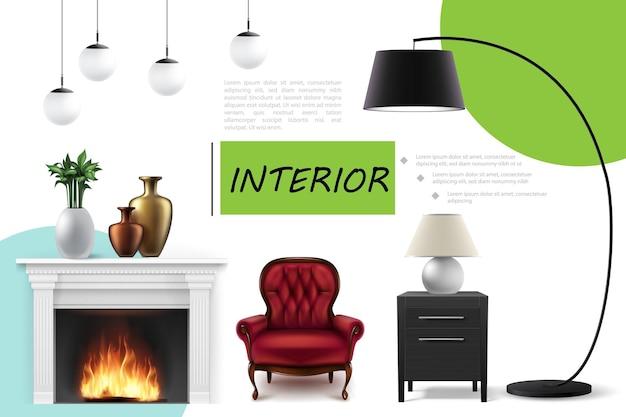 Conceito de interior de casa realista com poltrona confortável mesa de cabeceira, lâmpadas de teto e vaso de cerâmica e planta de casa na lareira