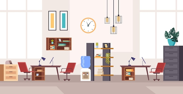 Conceito de interior de móveis de estação de trabalho para escritório