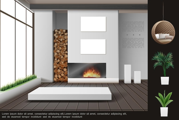Conceito de interior de sala de estar realista com elementos de decoração de lareira pendurados em almofadas de cadeira de vime, plantas e grama em vasos de flores.