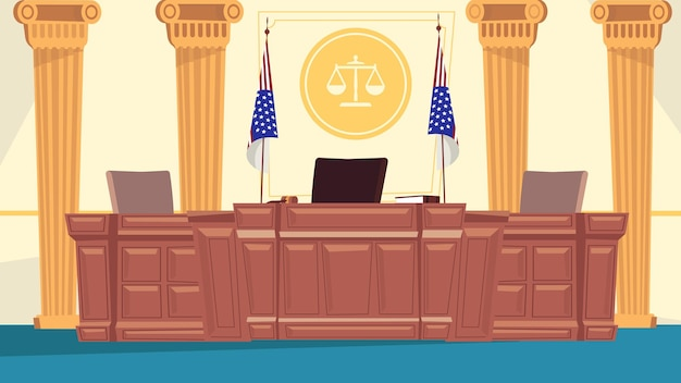 Conceito de interior de sala de tribunal em design plano dos desenhos animados. local de trabalho do juiz à mesa enorme, lugar do secretário, bandeiras, colunas, sinal da balança da justiça. jurisprudência. fundo horizontal da ilustração vetorial
