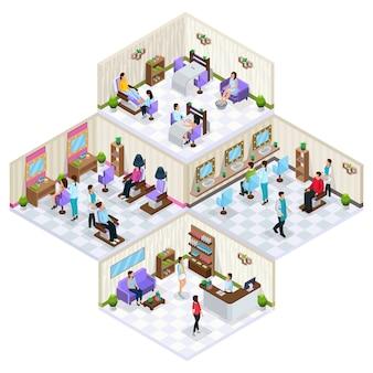 Conceito de interior de salão de beleza isométrico com pessoas de móveis em procedimentos de cosmetologia e cuidados com a pele dos cabelos isolados